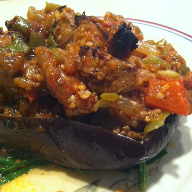 Stuffed Eggplant that I shoved in my face after the WOD today :)