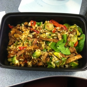 Meal 3: Pork stir fry with brown rice, peppers, onions, spinach, brussels sprouts.