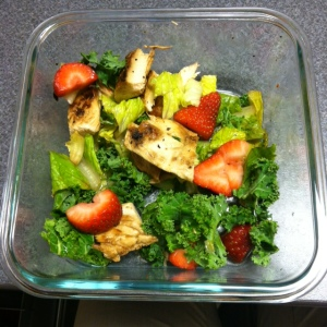 Meal 2: Salad with chicken, strawberries, kale, and lettuce.